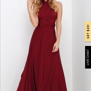 Lulus XS burgundy convertible dress